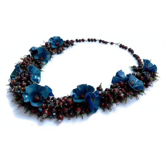 Celluloid & Seed Necklace Plastic Flowers Natural Seeds and Glass Seed Beads 1930s
