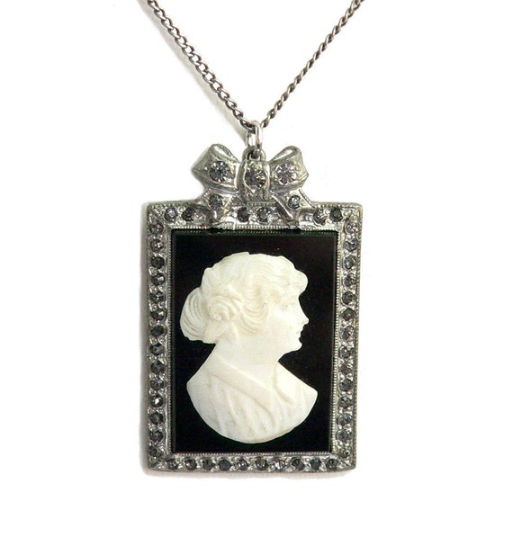 Cameo Pendant Necklace Art Deco Carved Shell on Glass & Paste Sterling Silver 1920s - Storewide Holiday Sale