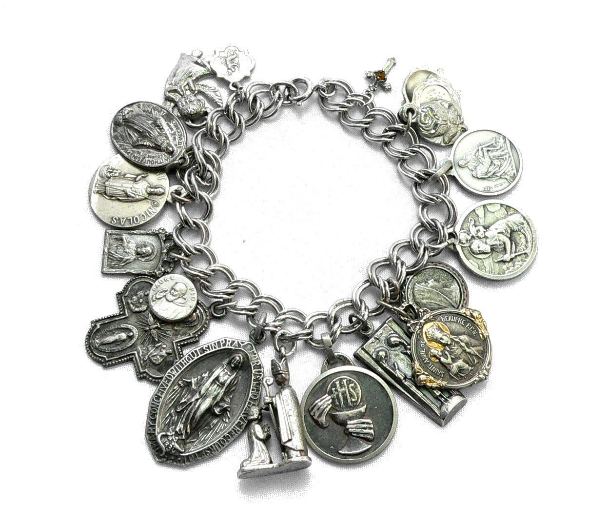 Antique Gold Charm Bracelet: Religious Medals Charm Bracelet Sterling Silver Antique