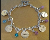 Grandma or Mom Five Disc Charm Bracelet Hand Stamped and Personalized with Swarovski Dangle Birthstones