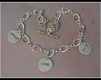 Hand Stamped Sterling Silver Charm Bracelet
