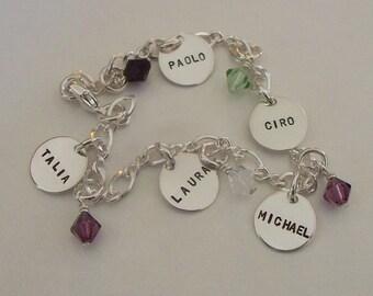 Five Disc Charm Bracelet with Swarovski Dangle Birthstones