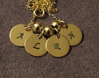 Four Disc 14K Gold Filled Charm Necklace Personalized