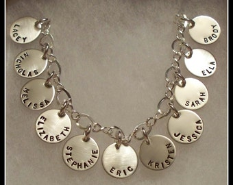 Grandmothers Bracelet 12 Sterling Silver and Personalized Discs