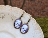 Petite Purple Lolita Skull Earrings