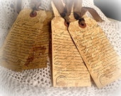 Very French Aged Gift Tags - - Set of Five Perfect for Gifts of Yesteryear