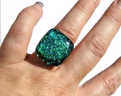 Emerald Green Dichroic Glass Chunky Ring