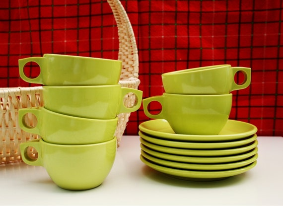 Set of 6 Lime Green Melmac Cups and Plates
