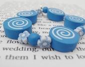 Little Girls, Blue Swirls Elasticated Bracelet