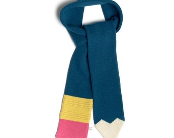 Lambswool Petrol Blue Pencil Scarf - Made to order