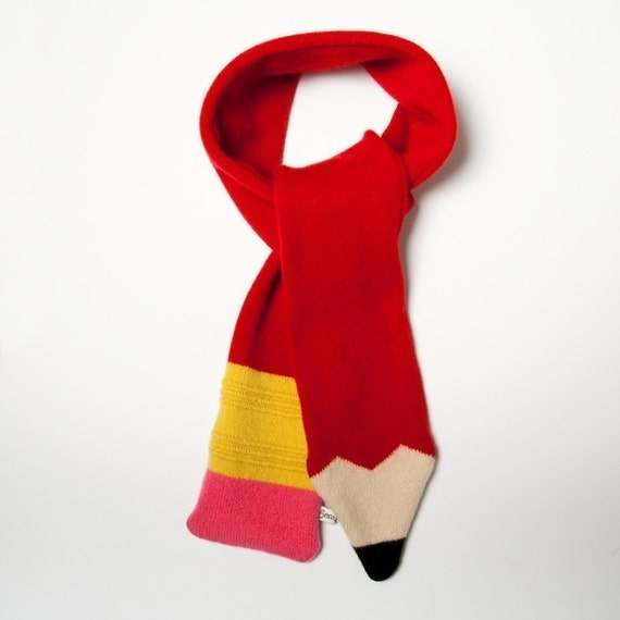 Lambswool Red Pencil Scarf Made to order