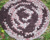 Small Round Brown Crocheted Rag Rug