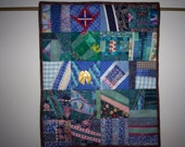 Crazy Quilt Wall Hanging in Shades of Blue