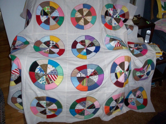 Clearance Sale - Quilt Top - Appliqued Colorful Wagon Wheels