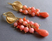 Pink Coral Cluster Golden Dangle Earrings