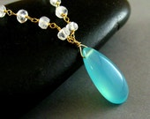 Reserved for Ruth - Aqua Chalcedony And Moonstone Rosary Beaded Necklace