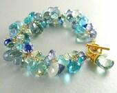 Blue and Green Gemstone Bracelet