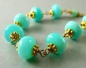 Peruvian Blue Opal  and Gold  Bracelet