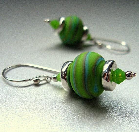 Sale - Green Lampwork Bead Earrings