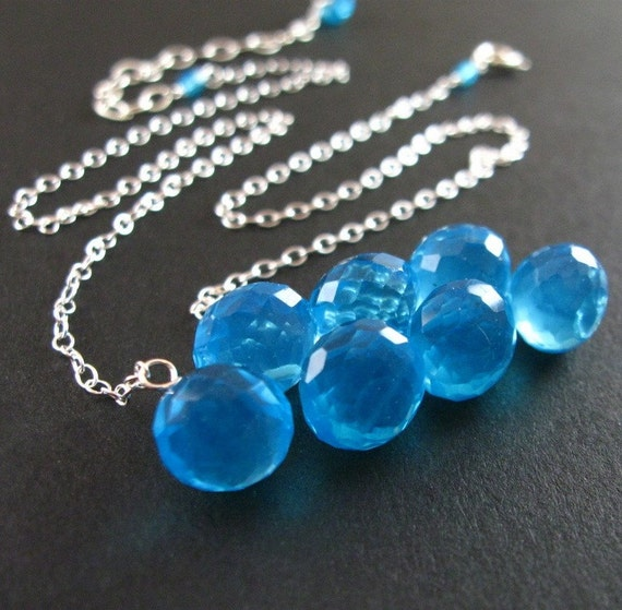 50% Off - Neon Blue Quartz Necklace