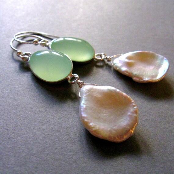 50% Off - Sea Foam Chalcedony and Pearl Sterling Earrings