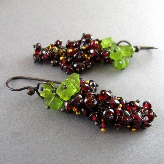 Sale- Garnet Cluster Earrings - Napa