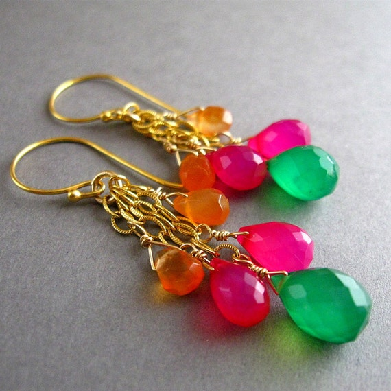 Earrings, Colorful Gemstone, Dangle, Gold Filled