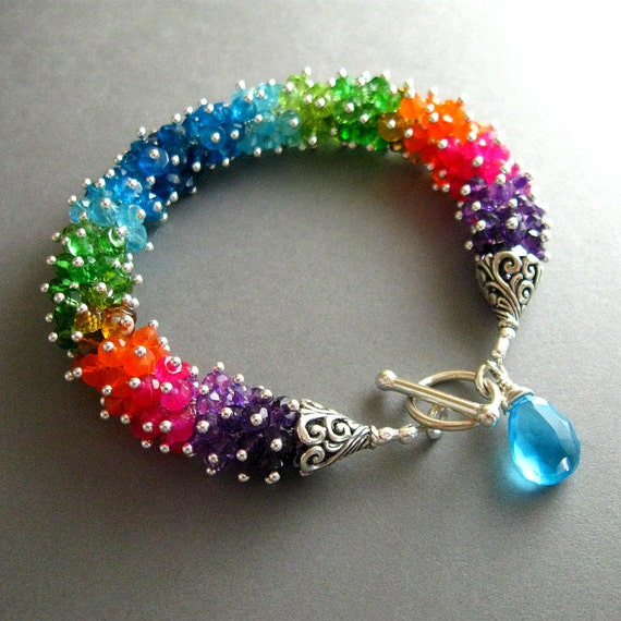 Colorful Neon Gemstone Wire Wrapped Sterling Bracelet