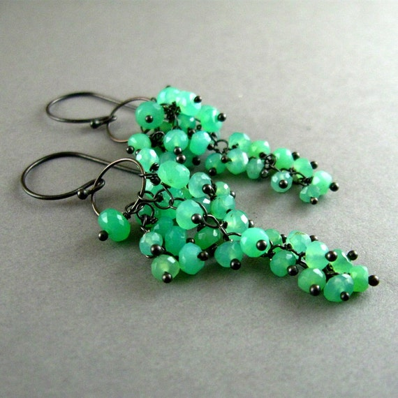 Green Gemstone, Chrysoprase Cluster Wire Wrapped Dangle Earrings