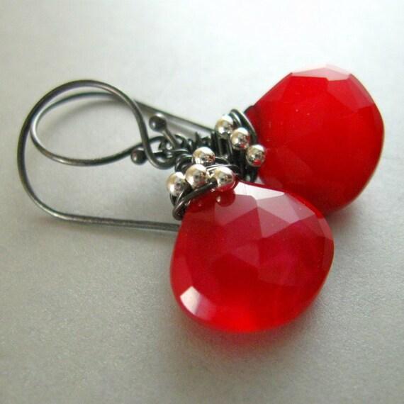 Red Gemstone, Red Earrings, Chalcedony Earrings, Wire Wrapped Earrings