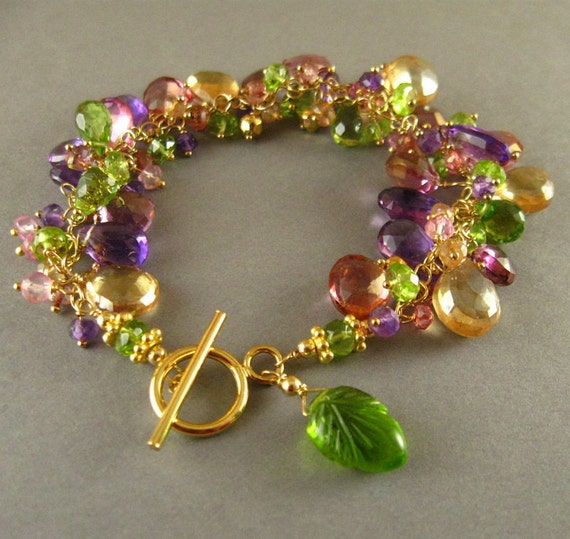 Amethyst, Peridot, Golden Pyrite and Quartz Gold Filled Wire Wrapped Bracelet