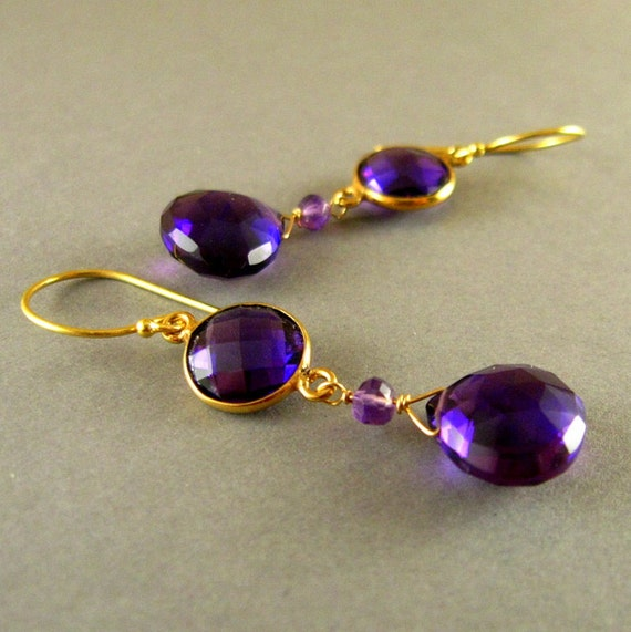 Sale - Amethyst Gold Filled Earrings