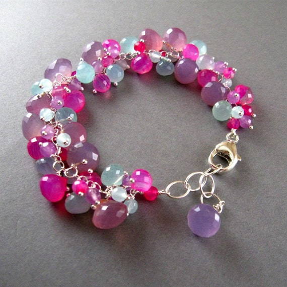Lavender and Pink Chalcedony Cluster Sterling Bracelet