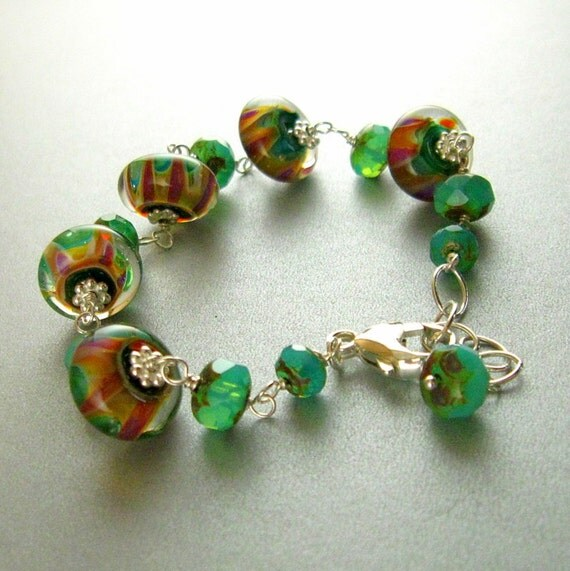 1/2off Handmade Lampwork Bead and Sterling Silver Bracelet