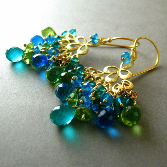 Peacock Chandelier Earrings, Peridot, Topaz and Quartz Gold Plated