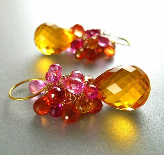 Sunshine Quartz  Cluster Dangle Earrings