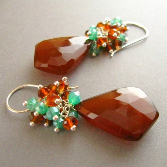 Reserved For Sueanne - Brown Chalcedony and Mystic Green Apatite Sterling Earrings