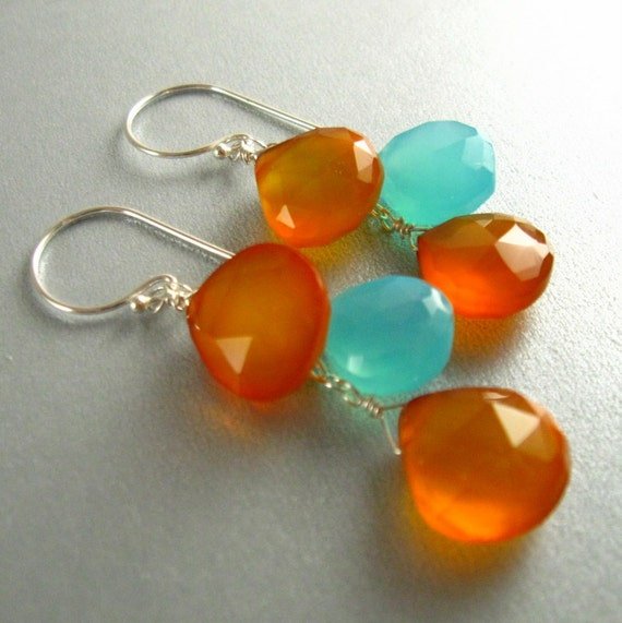 Aqua and Orange Chalcedony Wire Wrapped Sterling Silver Earring