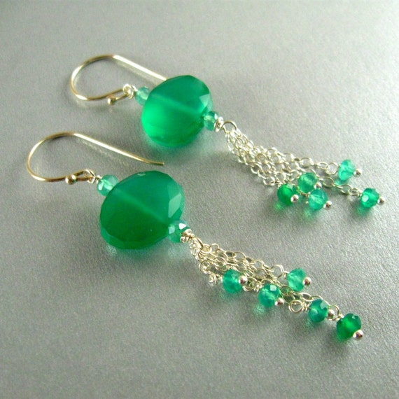 Green Onyx and Sterling Silver Dangle Earrings