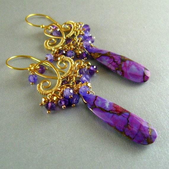 Purple Gemstone Wire Wrapped Chandelier Earrings, Purple Turquoise, Amethyst,Pyrite