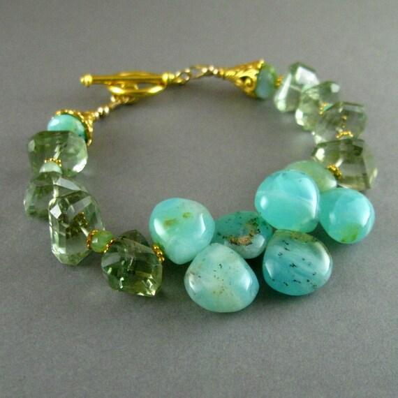 Peruvian Opal and Prasiolite Nugget Gemstone Bracelet