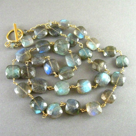 Labradorite and Gold Filled Wire Wrapped Necklace