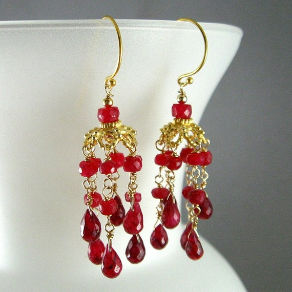 1/2 Off. Ruby and Gold Vermeil Chandelier Earrings - Casablanca
