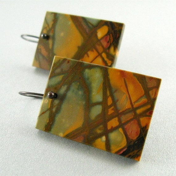 Sale- Picasso Jasper Silver Earrings - Desert Landscape