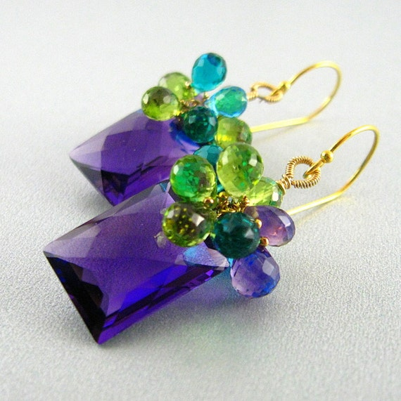 Colorful Amethyst, Peridot and Quartz Gemstone Lux Earrings
