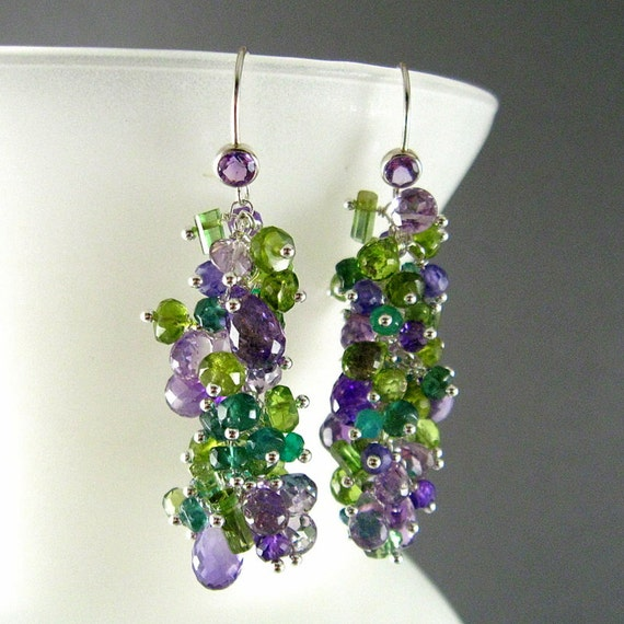 Purple and Green Gemstone Cluster Sterling Silver Earrings - Amethyst, Peridot, Vesuvianite, Tourmaline