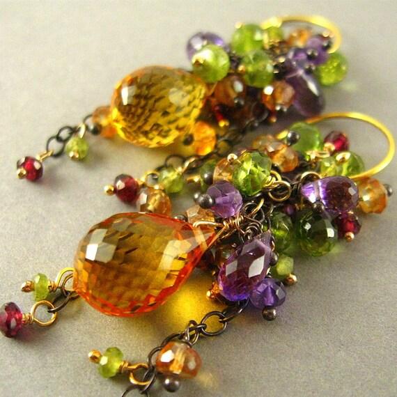 Golden Yellow Citrine Cluster Earrings