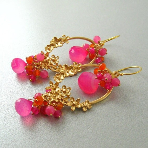 Reserved Order For Michelle - Pink Cluster Gemstone Earring