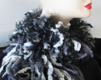 Knitted Rag Scarf - Black and White
