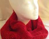 Ruby Red Cowl, Hand Crocheted